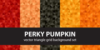 Triangle pattern set Perky Pumpkin. Vector seamless geometric ba. Ckgrounds with red, peach, black, orange, pumpkin right triangles Royalty Free Stock Image