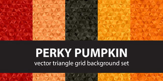 Triangle pattern set. Perky Pumpkin. Vector seamless geometric backgrounds with red, peach, black, orange, pumpkin triangles Stock Images