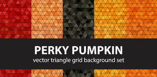 Triangle pattern set. Perky Pumpkin. Vector seamless geometric backgrounds: red, peach, black, orange, pumpkin triangles on black backdrops Royalty Free Stock Photography