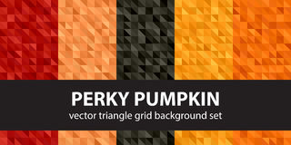 Triangle pattern set Perky Pumpkin. Vector seamless geometric. Backgrounds with red, peach, black, orange, pumpkin right triangles Royalty Free Stock Photos