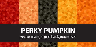 Triangle pattern set Perky Pumpkin. Triangle pattern set `Perky Pumpkin`. Vector seamless geometric backgrounds with red, peach, black, orange, pumpkin triangles Royalty Free Stock Photos