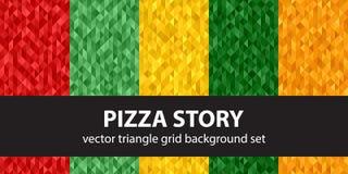 Triangle pattern set Pizza Story vector illustration