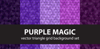 Triangle pattern set Purple Magic. Vector seamless geometric bac Royalty Free Stock Photography