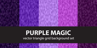 Triangle pattern set Purple Magic. Vector seamless geometric backgrounds with amethyst, lavender, plum, purple, violet triangles Royalty Free Stock Images