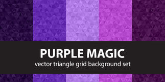 Triangle pattern set Purple Magic. Vector seamless geometric backgrounds with amethyst, lavender, plum, purple, violet triangles Royalty Free Stock Photography