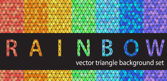Triangle pattern set Rainbow. Vector seamless geometric backgrounds stock illustration