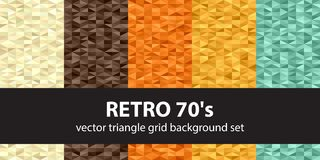 Triangle pattern set Retro 70s. Vector seamless geometric backgr. Ounds with beige, brown, orange, yellow, green triangles Royalty Free Stock Photo