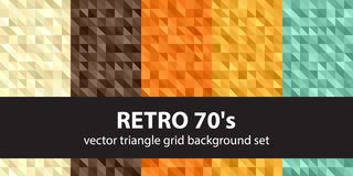 Triangle pattern set Retro 70`s Stock Photos