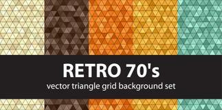 Triangle pattern set Retro 70`s Royalty Free Stock Photos