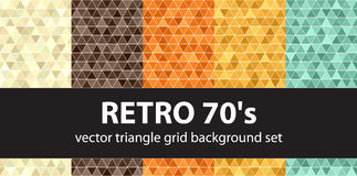 Triangle pattern set Retro 70s. Vector seamless geometric backgrounds: beige, brown, orange, yellow, green triangles on white backdrops Royalty Free Stock Photo