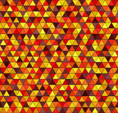 Triangle pattern. Vector seamless background. Maroon, red, orange, gold, yellow triangles on black backdrop Stock Photo