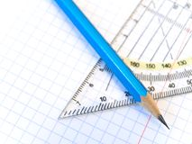 Triangle and pencil Stock Photos