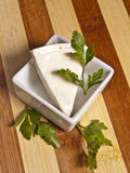 Triangle piece of cheese. With parsley in white bowl on wooden board Royalty Free Stock Photos