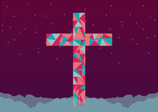 Triangle pink blue cross on purple sky with stars | Christian illustration | creative design Royalty Free Stock Photo