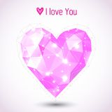 Triangle pink heart illustration. For Valentine's Day Stock Image