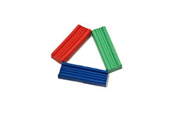 Triangle of plasticine (RGB). The triangle is composed of red, green and blue bar of plasticine Stock Images