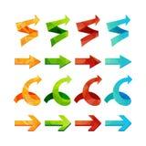 triangle polygonal arrows set Stock Photo