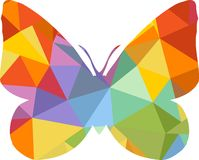 Triangle polygonal silhouette of butterfly Royalty Free Stock Images