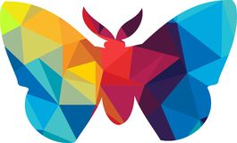 Triangle polygonal silhouette of butterfly Stock Photo