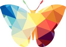 Triangle polygonal silhouette of butterfly. Vector illustration stock illustration