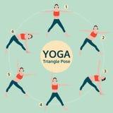 Triangle pose, yoga set illustration, yoga exercise vector Royalty Free Stock Photo