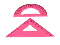 Triangle and protractor Royalty Free Stock Images