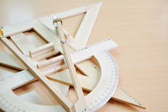 Triangle and protractors Stock Image