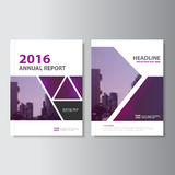 Triangle purple annual report Leaflet Brochure Flyer template design, book cover layout design Royalty Free Stock Photography