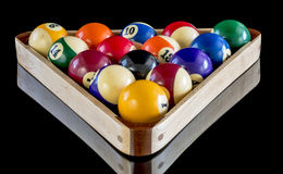 Triangle rack hold billiard balls Royalty Free Stock Images