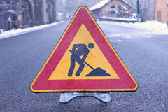 Triangle road sign work in progress Stock Images