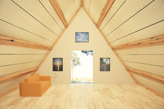 Triangle room. Trianglural wooden interior design with sofa, pictures and door, revealing landscape view. 3D Render Royalty Free Stock Photo