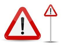 Triangle rouge de panneau routier d'avertissement avec le point d'exclamation Vecteur i illustration libre de droits