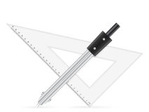 Triangle ruler and drawing compass Stock Photo