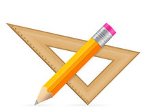 Triangle ruler and pencil Stock Photography