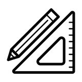 Triangle ruler and a pencil vector icon. Black and white illustration of school tools . Outline linear education icon. Stock Image