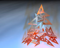 Triangle rulers composing a christmas tree. 3d illustration of triangle rulers composing a christmas tree Royalty Free Stock Photos