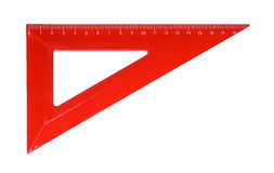TRIANGLE RULLER FOR MATHEMATICS AND GEOMETRY IN SCHOOL Royalty Free Stock Photo