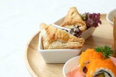 Triangle sandwich. In tea time set Stock Photo
