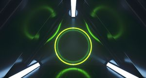 Triangle Sci-FI Futuristic Corridor With Circle Light In The Cen. Triangle Sci-FI Futuristic Corridor With Green Circle Light In The Center. 3D Rendering Vector Illustration