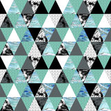 Triangle seamless pattern with grunge and watercolor textures. Royalty Free Stock Photos