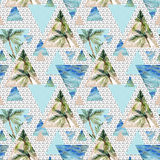 Triangle seamless pattern with palms, grunge and watercolor textures. Abstract geometric background in 80`s or 90`s style. Summer background with scribble and Stock Illustration