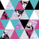 Triangle Seamless Pattern With Grunge And Watercolor Textures. Stock Image