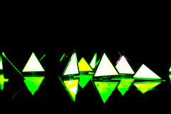 Triangle shaped  design lamps installations Royalty Free Stock Photo
