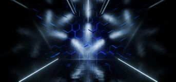 Triangle Shaped Futuristic Sci-Fi Ship Corridor With Hexagon Blu. E Glowing Lights Reflected Everywhere And Blue Led Neon Stripes 3D Rendering Illustration Royalty Free Illustration