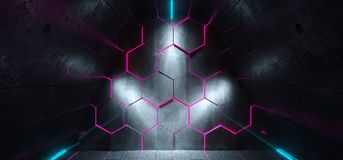 Triangle Shaped Futuristic Sci-Fi Ship Corridor With Hexagon Pur. Ple Glowing Lights Reflected Everywhere And Blue Led Neon Stripes 3D Rendering Illustration Vector Illustration
