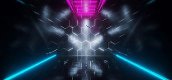 Triangle Shaped Futuristic Sci-Fi Ship Corridor With Hexagon Whi. Te Glowing Lights Reflected Everywhere And Blue Led Neon Stripes 3D Rendering Illustration Vector Illustration