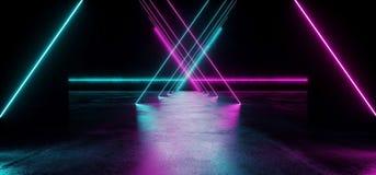 Triangle Shaped Sci Fi Futuristic Modern Vibrant Glowing Neon Pu. Triangle Sci Fi Futuristic Modern Vibrant Glowing Neon Purple Pink Blue Laser Tube Lights In vector illustration