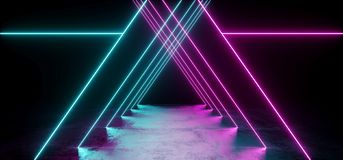 Triangle Shaped Sci Fi Futuristic Modern Vibrant Glowing Neon Pu. Rple Pink Blue Laser Tube Lights In Long Dark Empty Grunge Texture Concrete Tunnel Background royalty free illustration