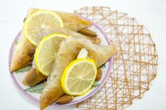 Triangle shaped Turkish Baklava Stock Images
