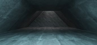 Triangle Shaped Underground Concrete Tunnel With Empty Space And. Wall In Front 3D Rendering Illustration Stock Illustration